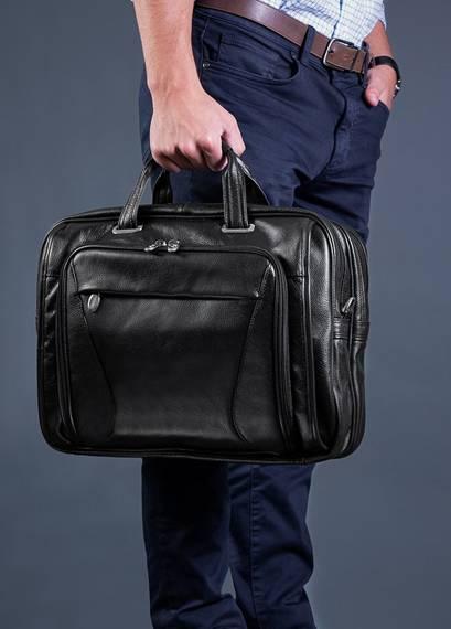 """15.6"""" Leather Double Compartment Laptop Case Mcklein Irving Park"""