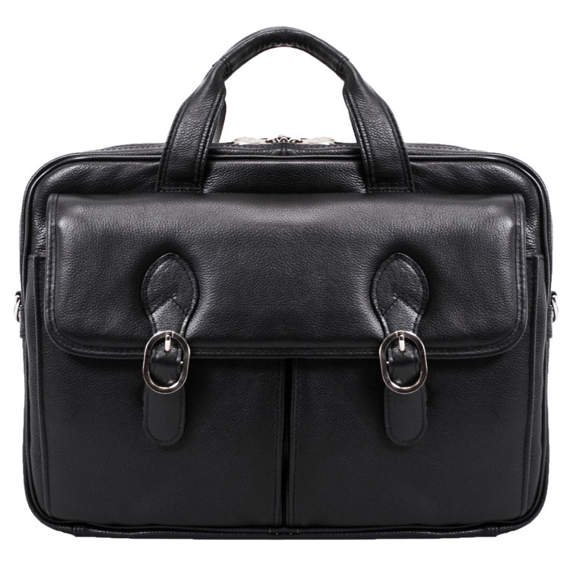 "15.6"" Leather Double Compartment Laptop Case Mcklein Kenwood"