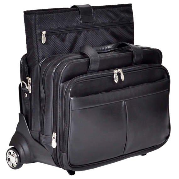 "17"" Leather Detachable-Wheeled Laptop Case w/ Removable Sleeve Mcklein Roosevelt"