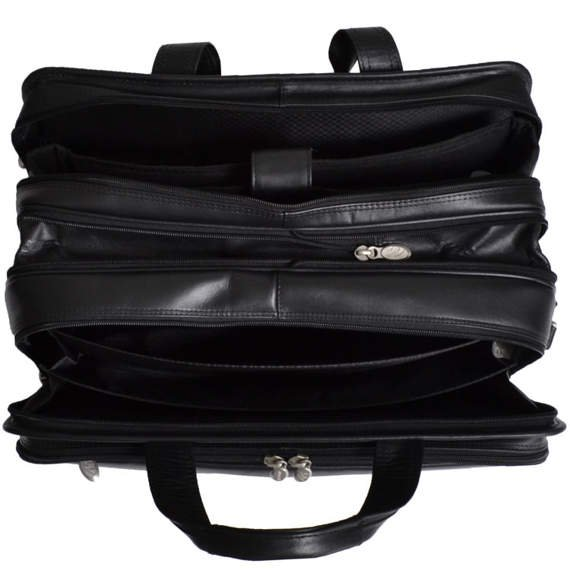 """17"""" Leather Detachable-Wheeled Laptop Overnight with Removable Brief Mcklein Chicago"""