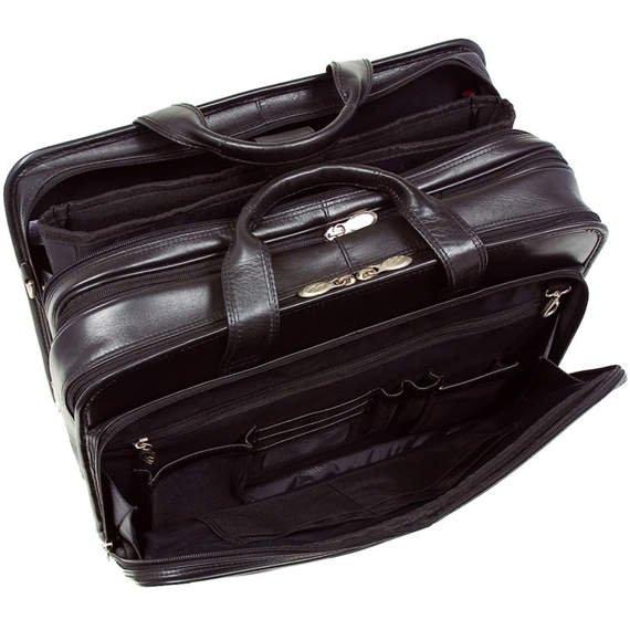 """17"""" Leather Expandable Double Compartment Laptop Case w/ Removable Sleeve Mcklein Walton"""