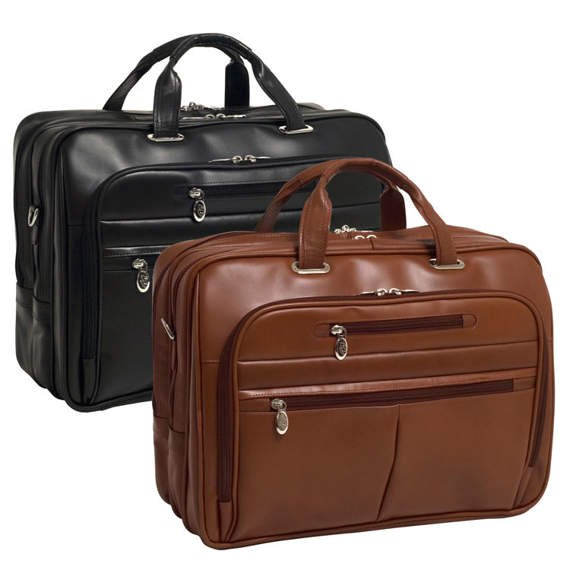 """17"""" Leather Fly-Through™ Checkpoint-Friendly Laptop Case Mcklein Rockford"""