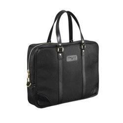 "Czarna Torba biznesowa na laptopa 15,6"" na ramię pasek czarny Sempertus"
