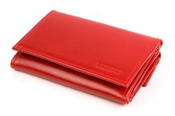 Mały i funkcjonalny portfel damski skórzany, kolor: czerwony