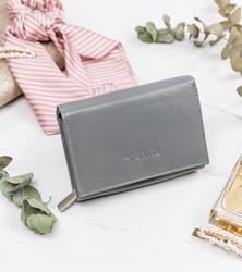 Mały portfel damski skórzany na suwak RFID stop Cavaldi® RD-02-GCL GRAY