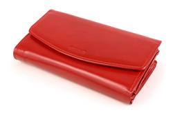 Niecodzienny skórzany portfel w kolorze czerwonym, damski