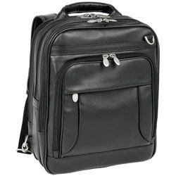 """Skórzany Plecak męski, na laptopa 15,6"""" Lincoln Park, Czarny"""