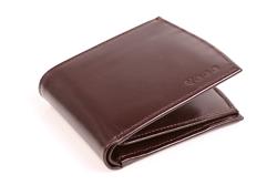 Wygodny portfel skórzany męski w kolorze brązowym