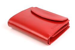 Zaokrąglony portfel skórzany damski w kolorze czerwonym