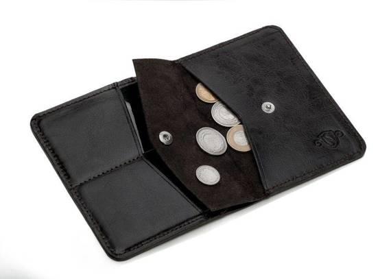 Cienki skórzany męski portfel z bilonówką SOLIER SW15 SLIM CIEMNY BRĄZ