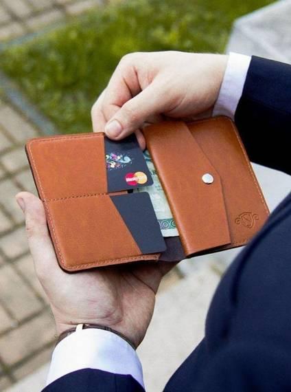 Cienki skórzany męski portfel z bilonówką SOLIER SW15 SLIM CZARNY