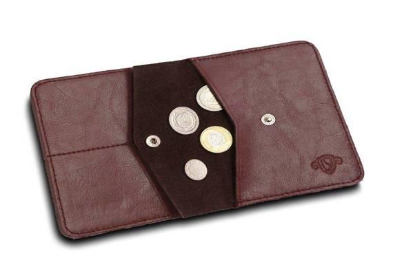 Cienki skórzany męski portfel z bilonówką SOLIER SW15 SLIM bordowy