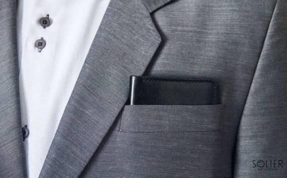 Cienki skórzany męski portfel z bilonówką SOLIER SW16 SLIM BRĄZ