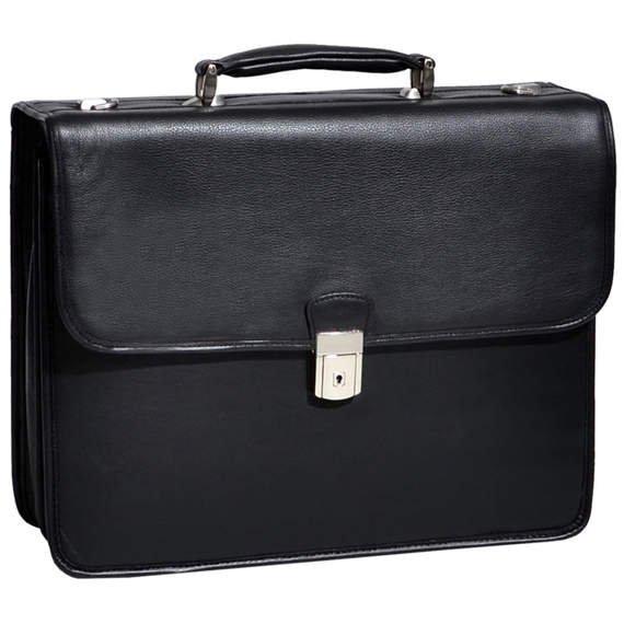 "Czarna Skórzana teczka neseser Ashburn na laptopa 15,6"""