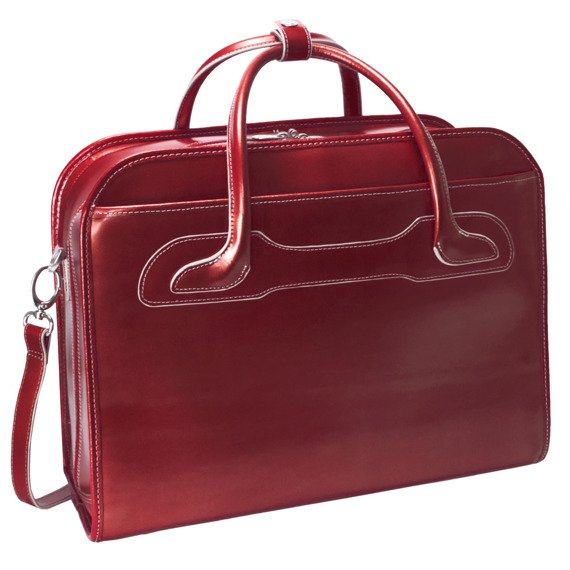 "Czerwona Torba damska skórzana na kółkach Willowbrook na laptopa 17"""