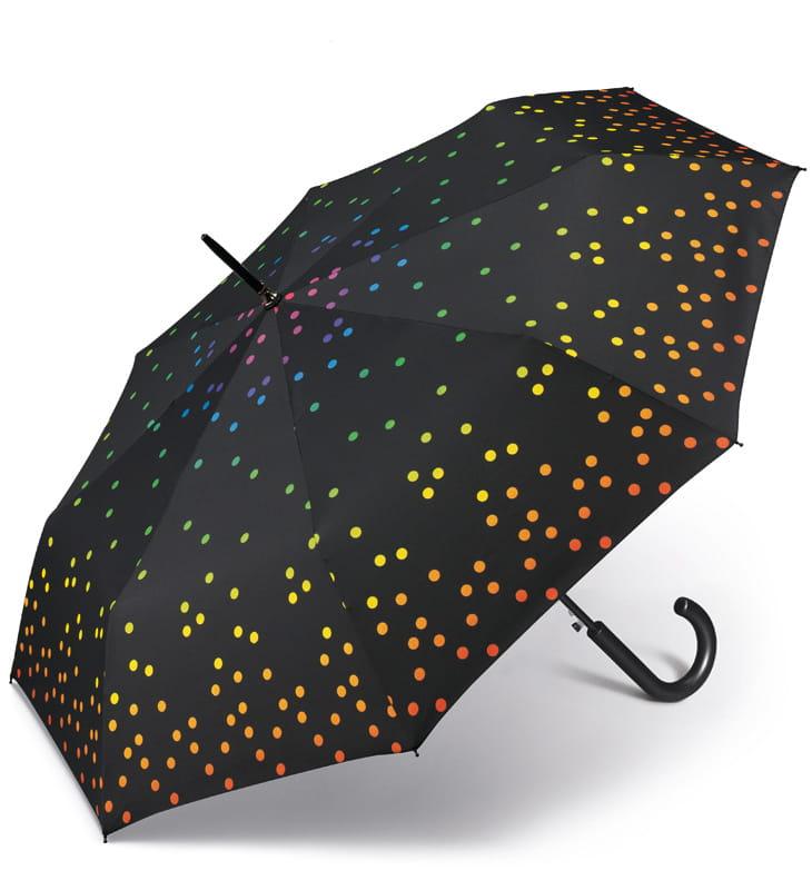 Elegancka parasolka długa w kolorowe pasy Happy Rain