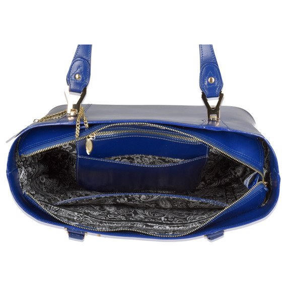 Elegancka skórzana damska torebka do pracy Savarna, granat
