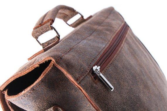 Jasno brązowa skórzana na dokumenty A4 Old Look torba na ramię URBAN ATS164