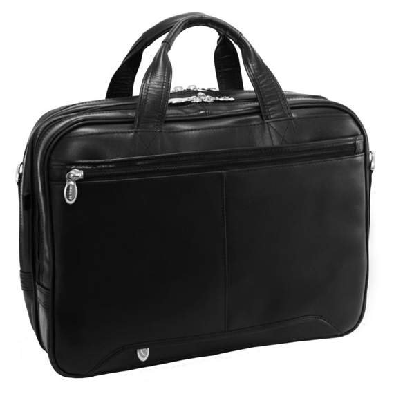 """Męska torba skórzana na laptopa Pearson, czarna 17"""""""