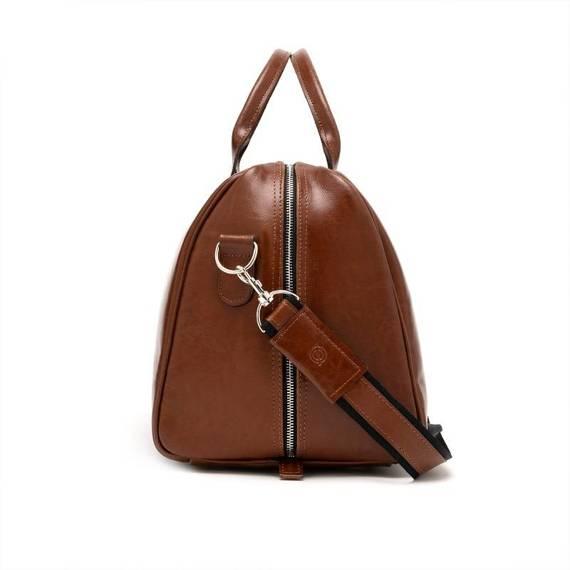 Podróżna torba na ramię ze skóry brodrene r10 koniak smooth leather
