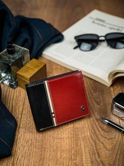 Poziomy portfel męski dwukolorowy, skóra naturalna HQ Rovicky