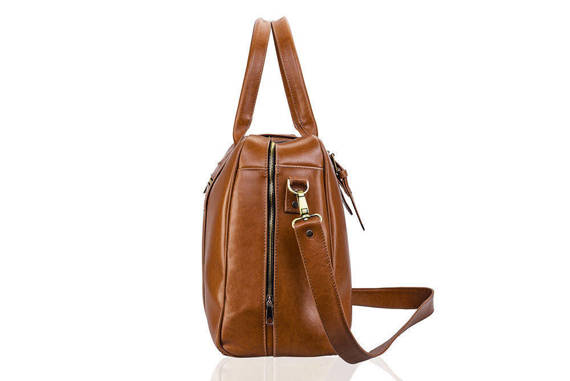 Skórzana męska torba podróżna, weekend Solier SL16 HAMILTON brązowy