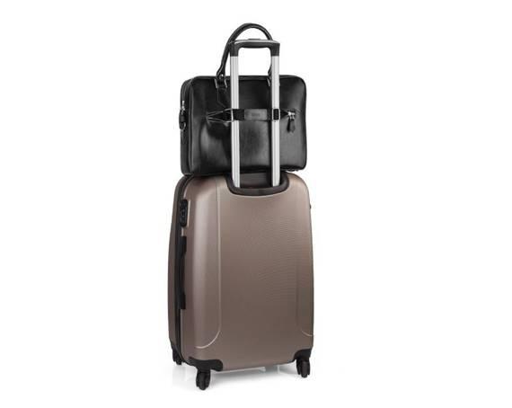 Skórzana torba na laptop z uchwytem na walizkę SL23 czarna