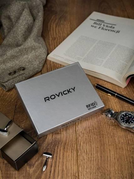 Skórzany portfel pionowy dwukolorowy składany Rovicky