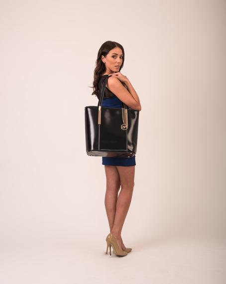Torba ze skóry naturalnej, Cristina, klasyczna, czarna